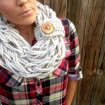 Mushroom Tan Wool Chunky Thick Knit Infinity Scarf w/ Removable Band & Reclaimed Wood Button Fashion Accessory Woman Girl Unisex Men Wrap
