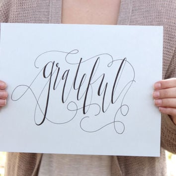 Grateful  // Calligraphy Print  // Home Decor // Gift (PG-5)