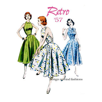 50s HALTER DRESS PATTERN Fit & Flare Marilyn Monroe Dress Bust 36 38 40 42 UNCuT Womens Vintage Butterick 4512 Retro Reissue Sewing Patterns