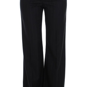 Dolce & Gabbana Gray Striped Wool High Waist Pants