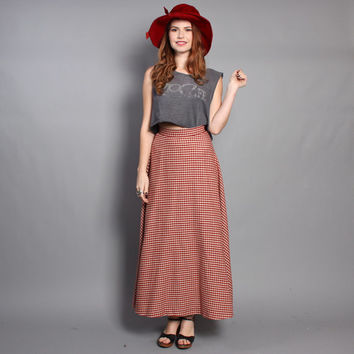 70s Wool MAXI SKIRT / Rusty Red & Ivory Flared PLAID, xs