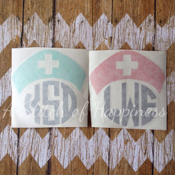 Nurse Car Decal - Nurse Monogram Decal - Monogram Nurse Car Sticker -