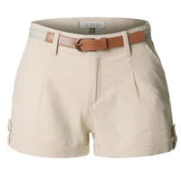 LE3NO Womens Casual Summer Linen Shorts with Removable Belt