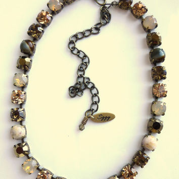 Swarovski crystal choker, neutrals and tigers eye, better than sabika, GREAT PRICE