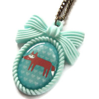 Mint Green Fox Necklace Kawaii Cameo by KitschBitchJewellery