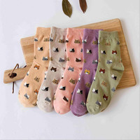 MOONBIFFY 5 colors Autumn New sock Animal cartoon cat lovely for women cotton socks