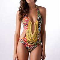 Print Hollow Out One Piece Swimsuit Bathing Suit  10358