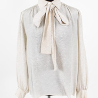 White Silk Polka Dot Blouse with Collar and Neck Tie