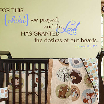 For This Child We Prayed Wall Decal Bible Scripture Christian