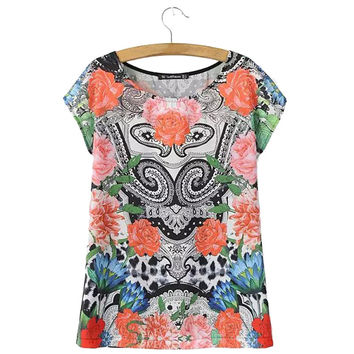 Women paisley pattern floral t shirt loose vintage short sleeve O-neck patchwork tees camisas femininas fashion casual top DT411
