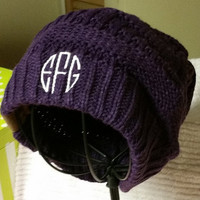 Womens Monogrammed Knit Slouchy Beanie Hat Cream Army Green Purple Black