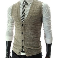 TheLees (GV01) Mens Casual Slim Fit 5 Button Knit Vest Waist Coat Brown Large(US Small)