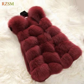 2017 Winter Warm Luxury Fur Vest for Women Faux Fur Coat Vests Women's Coats Jacket High Quality Thick Warm Furry Coat Tops