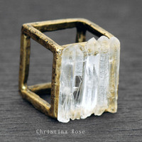 CRYSTAL CAGE Ring - Five Raw White Gemstone Crystal Points Distressed Vintage Gold Cube Ring 6.5 ooak