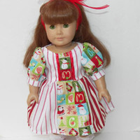 "Handmade to fit 18"" American Girl Doll Christmas Dress Stripes Santa Snowman 2pc"