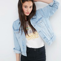 ASOS Denim Western Jacket in Light Stone-wash Blue with 2nd Chance Embroidery