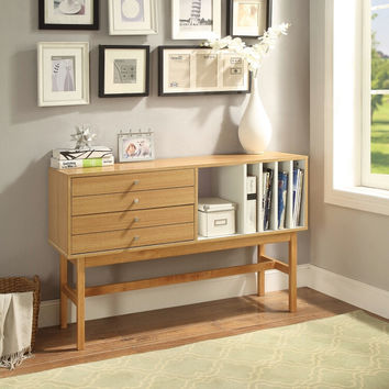 Acme 90169 Stania retro modern natural ivory finish wood tv stand console sofa table