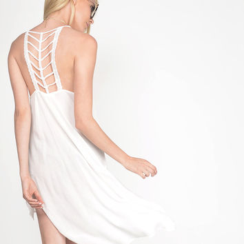 Skeletal Crochet Back Tunic Cami Dress