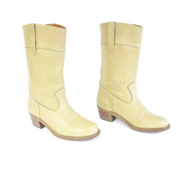 Vintage Womens Cowboy Boots Tan Leather Cowboy Boots Country Western Riding Boots Pull On Boots Stitching Round Toe Wood Low Heel Size 7