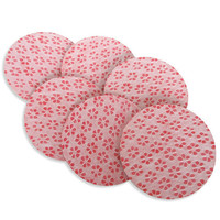 "Coral paper and cork drink coasters set, coral color ""Mio"" - Set of 6"