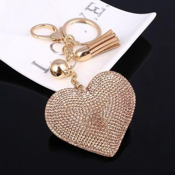 VONETDQ Cute Leather Key Chain for Car Key Ring 6 Colors Heart Pendant Rhinestone Key Cover Women Wholeslae Price Accessories