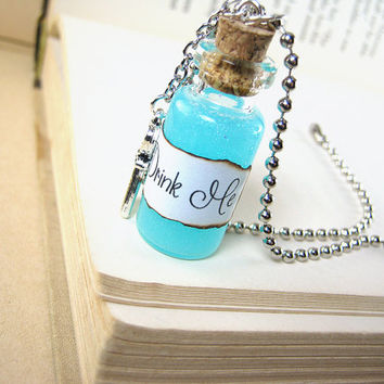 Drink Me - Alice in Wonderland - Glow in the Dark 2ml Glass Bottle Neckace - Vial Potion Halloween Charm