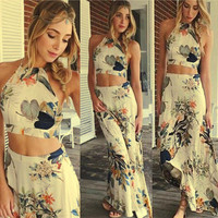 Chic  Floral Backless  long Crop Top Skirt Set Two Piece Spaghetti Strap Casual Plus Size