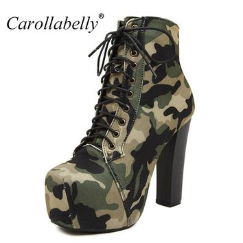 2017 New Women Autumn Boots High Heels Platform Military Boots Green Color Botines Mujer Plataforma Martin Boots