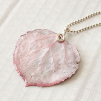 Pink Aspen Leaf Pendant, Bridesmaid Necklace, Nature Necklace