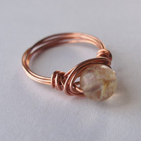 Stone Bead and Copper Wire Wrapped Ring -  Size 7