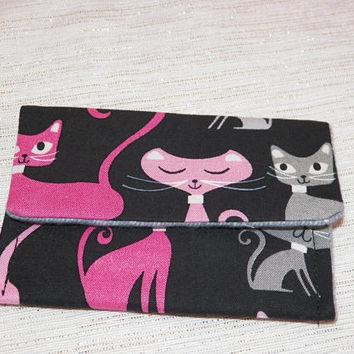 Kitties Card and Pocket Wallet Pink Gray Black Easy to Carry Compact Size for Cards and Cash Fits in Your pocket