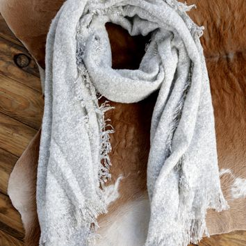Heathered Ultra Soft Scarf, White/Grey