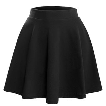 Le3no Womens Textured Flared Skater Skirt (clearance)