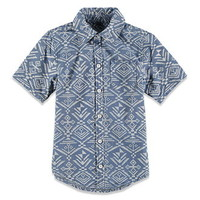 Boys Chambray Tribal Print Shirt (Kids)