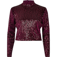 Dark red sequin turtleneck crop top - crop tops / bralets - tops - women