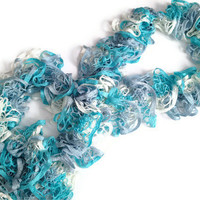 Ruffle Scarf in Light Blue Grey and White