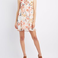 Floral Smocked Mock Neck Dress