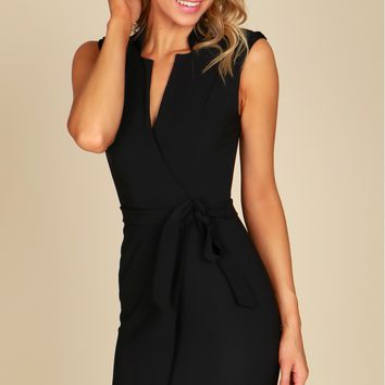 Classic Sleeveless Bodycon Dress Black
