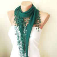 Spring ModelEmerald  Green Cotton Scarf with Tassel Lace by Periay