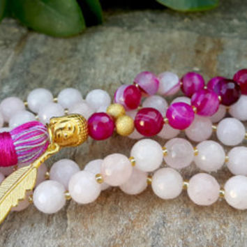 Buddhist Prayer Mala Beads - 108 Mala Tassel Necklace, Rose & Sugar Pink Agate Gemstone Necklace, Yoga, Buddhist, Meditation, Prayer Beads