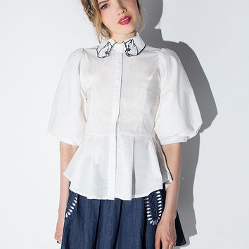White Embroidered Lantern-Sleeve Pleated Blouse