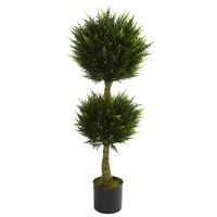 SheilaShrubs.com: 4' Double Ball Cypress Topiary UV Resistant (Indoor/Outdoor) 5392 by Nearly Natural : Artificial Flowers & Plants