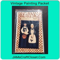 Vintage Painting Packet #4 Amish Farmer and Wife Holding Basket and Doll