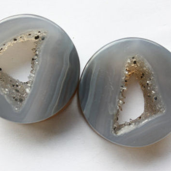 "1 1/2"" Blue/Grey Geode Plugs"