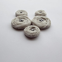 White with Silver Striped Tulle Roses Handmade Appliques Embellishments(5 pcs)