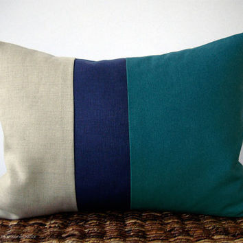 Color Block Stripe Pillow in Teal, Navy and Natural Linen by JillianReneDecor (12x16) Modern Home Decor Stripe Trio