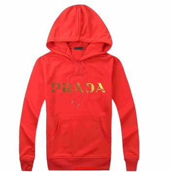 Prada Women Men Casual Long Sleeve Top Sweater Hoodie Pullover Sweatshirt-2