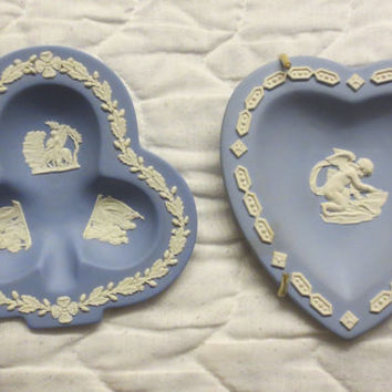 ON SALE-20% Off-Vintage 1956 Blue Jasper Wedgwood Pin dishes - Club and Heart Shaped Collectible Wedgwood Dishes-Excellent Gift Suggesiotn