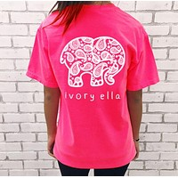Ivory Ella Trending Leisure Elephant Print Short Sleeve Round Collar T-Shirt Top Rose Red