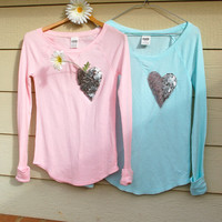 "The ""Dazzle Pocket"" Victoria's Secret Thermal - Pocket Shirt/Sequin Pocket Tiffany Blue"
